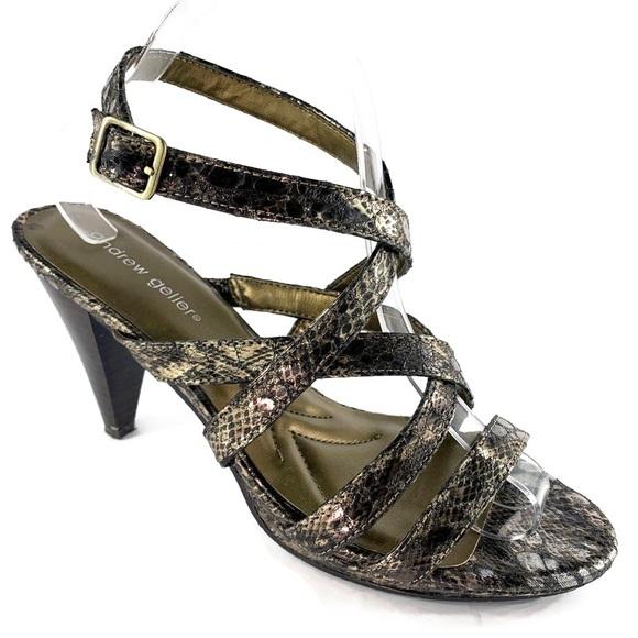 Andrew Geller Snake-Print Ankle Strap Buckle Heels
